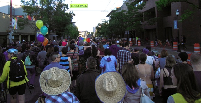 [Finishing up the Dyke March on Broadway in the evening shadows]