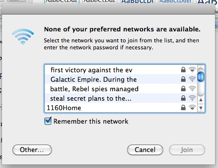 [The first eight lines or so of the Star Wars intro in network names]